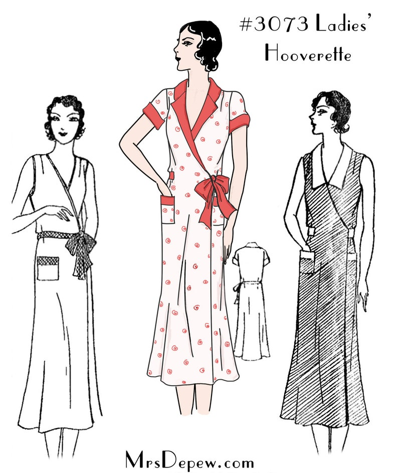 1930s Fashion Colors & Fabric Plus Size Vintage Sewing Pattern Reproduction 1930s Ladies Wrap Dress #3073 $22.00 AT vintagedancer.com