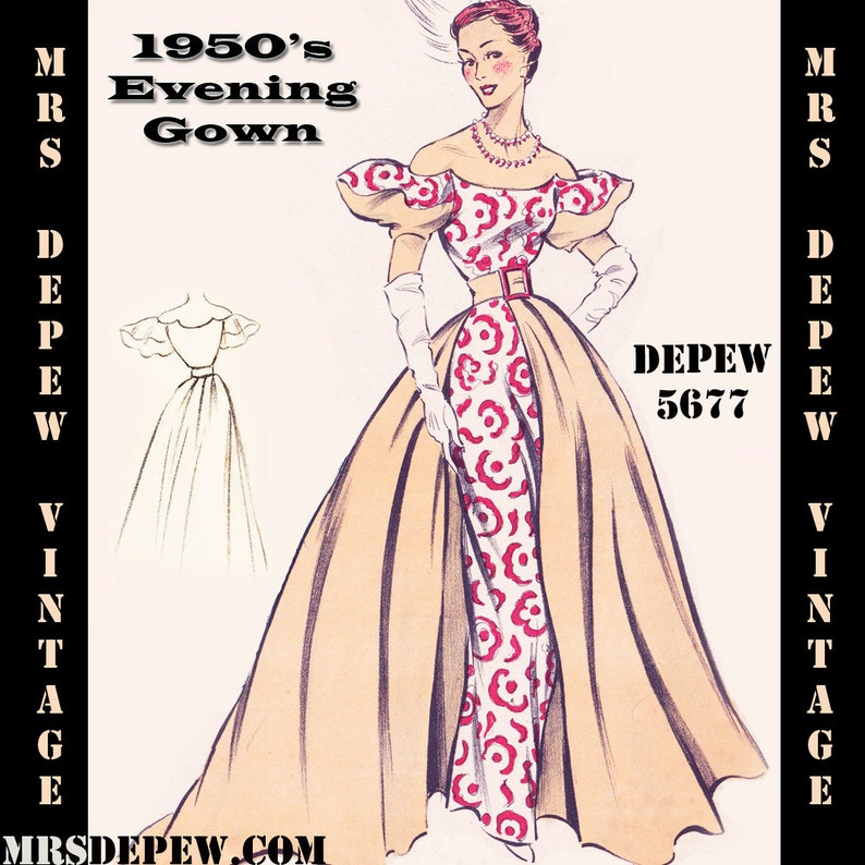 1950s Fabrics & Colors in Fashion 1950s Evening Ball Gown in Any Size - PLUS Size Included - Depew 5677 -INSTANT DOWNLOAD- $9.50 AT vintagedancer.com