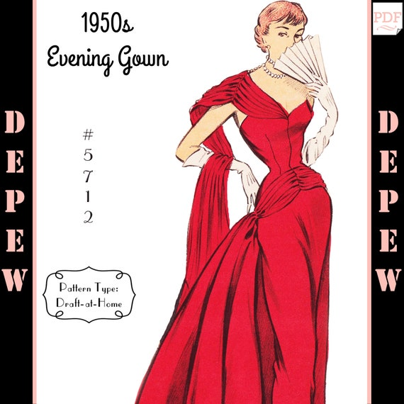 Vintage Sewing Pattern 1950s Evening Ball Gown in Any Size | Etsy