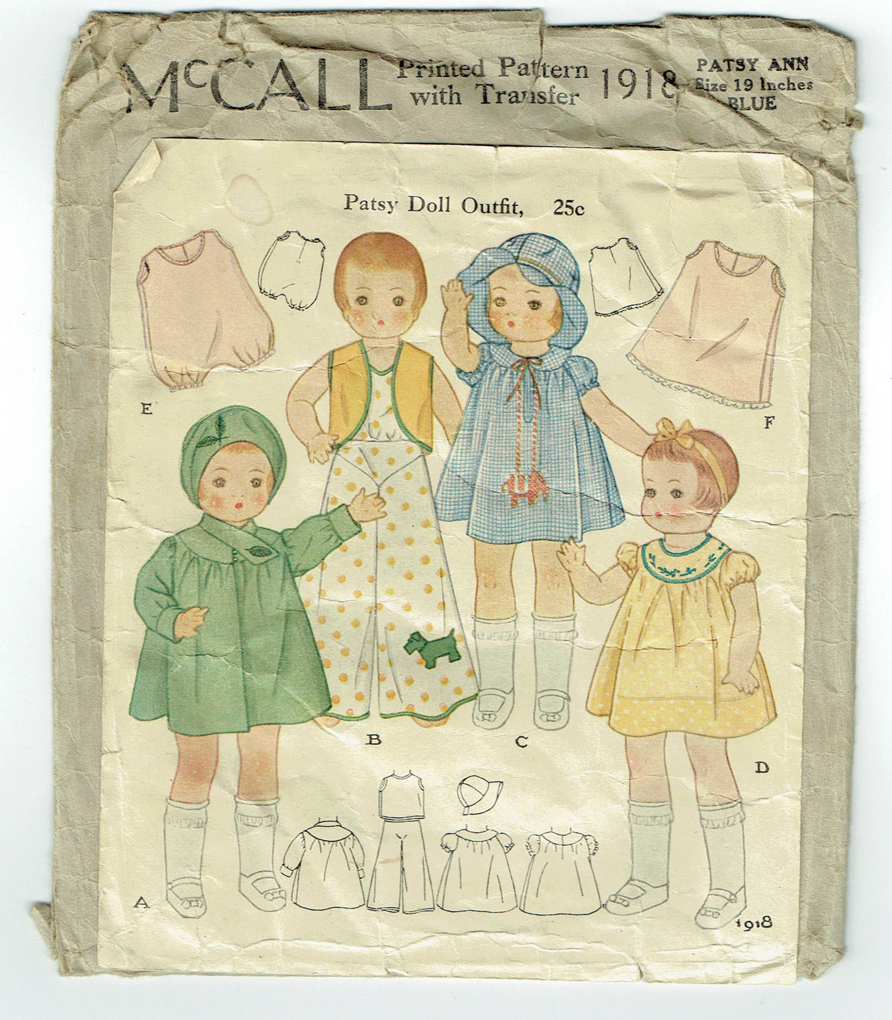 55806c6227 Vintage Sewing Pattern McCall 1918 1930s Patsy Doll Outfit