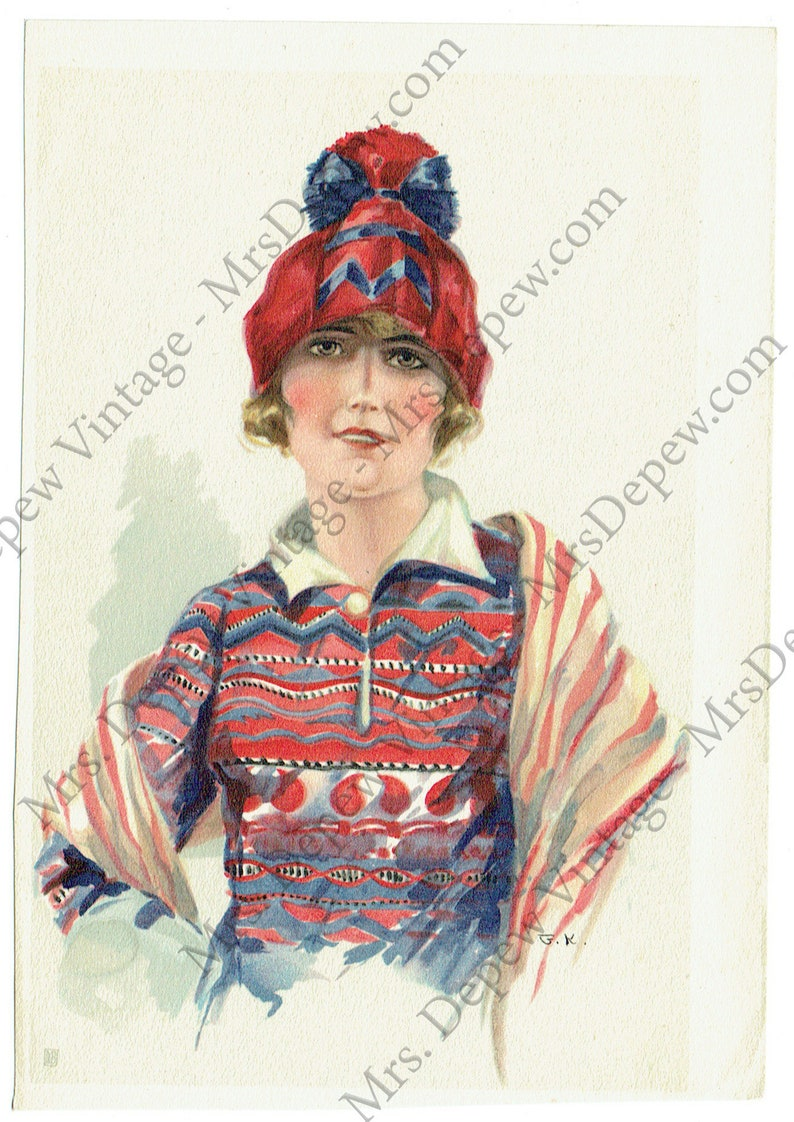 3 ORIGINAL Early 1920s Vintage Small Fashion Illustration Art Print Page from Germany No
