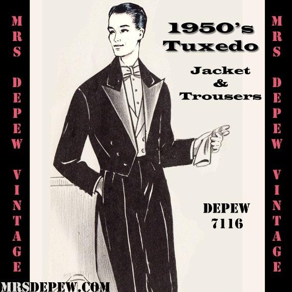 Menswear Vintage Sewing Pattern Men\'s Formal Tuxedo Jacket