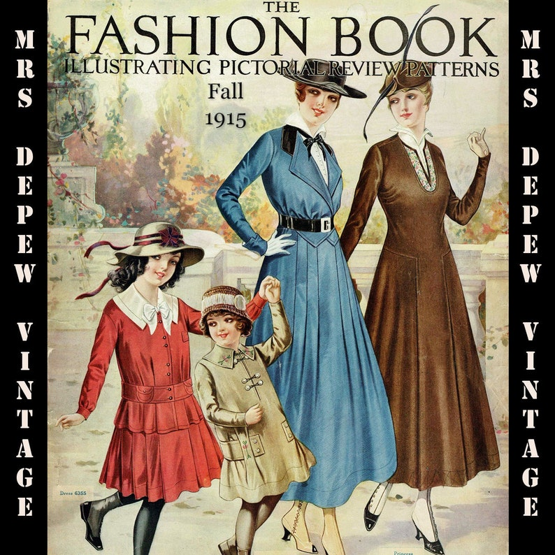 Edwardian Sewing Patterns- Dresses, Skirts, Blouses, Costumes 1915 Vintage Large Pattern Catalog Pictorial Review Fashion Book Quarterly Fall 1915 -INSTANT DOWNLOAD $12.00 AT vintagedancer.com