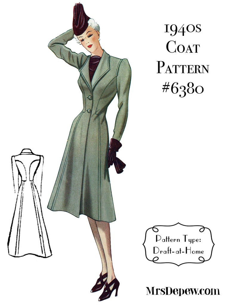 1940s Sewing Patterns – Dresses, Overalls, Lingerie etc 1940s Ladies Coat Any Size Depew 6380 Draft at Home Pattern - PLUS Size Included -INSTANT DOWNLOAD- $7.50 AT vintagedancer.com