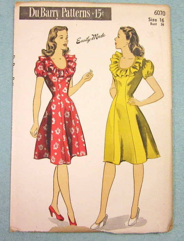 Vintage Sewing Pattern 1940s Princess Seam Dress Dubarry 6070 Etsy