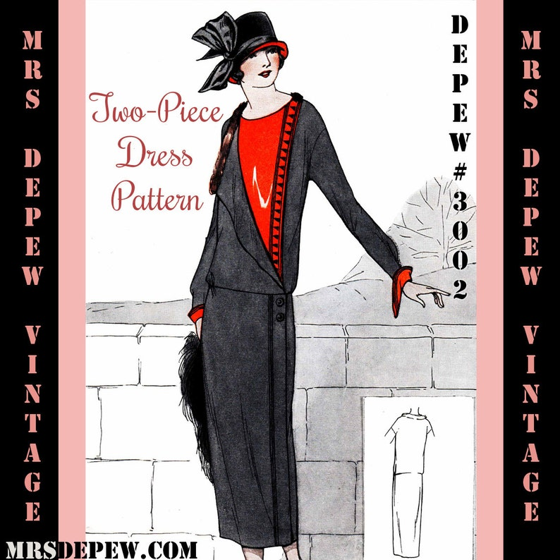 1920s Patterns – Vintage, Reproduction Sewing Patterns Two- Piece Dress Ebook Vintage Sewing Pattern Instructions 1920s Easy $7.50 AT vintagedancer.com