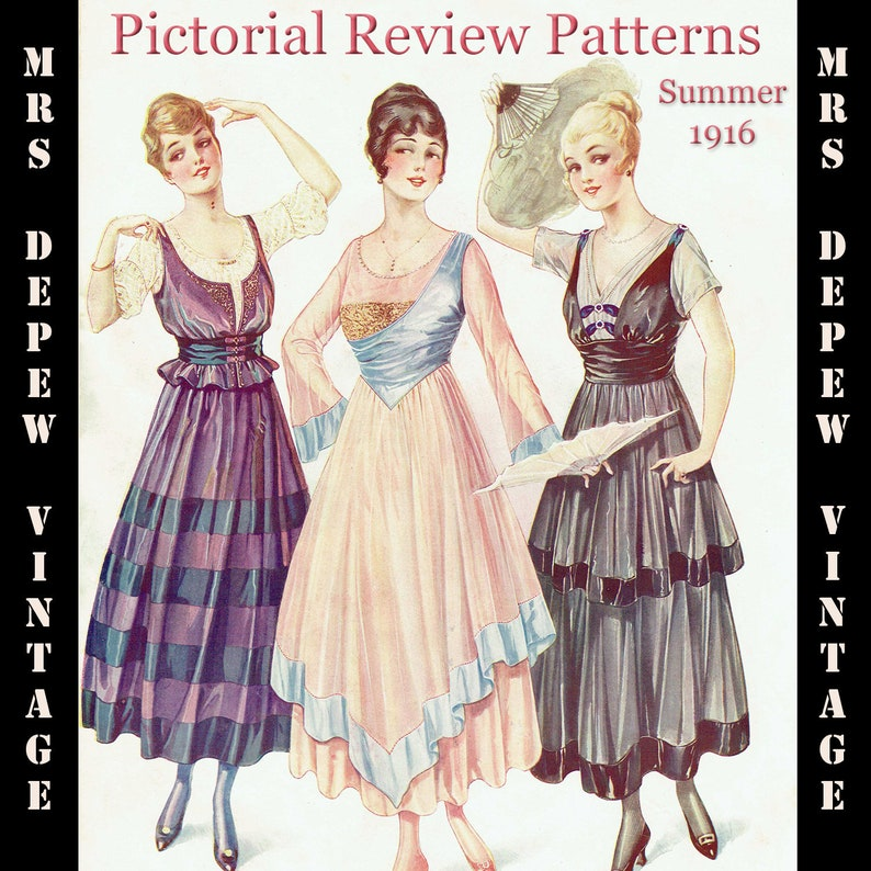 Edwardian Sewing Patterns- Dresses, Skirts, Blouses, Costumes 1916 Vintage Large Pattern Catalog Pictorial Review Fashion Book Quarterly Summer 1916 -INSTANT DOWNLOAD $11.00 AT vintagedancer.com