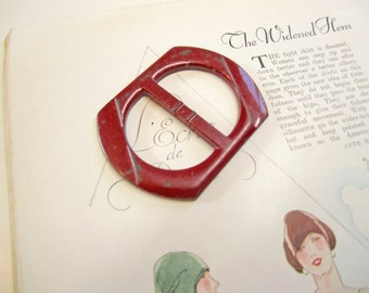 Vintage Large 1940's Red Plastic Belt Buckle
