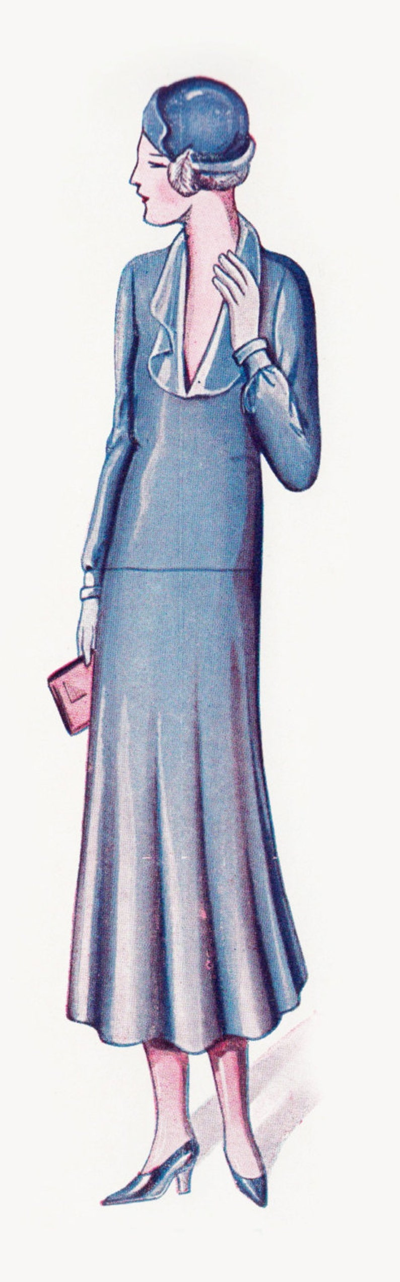 1930s Sewing Patterns- Dresses, Pants, Tops Vintage Sewing Pattern 1920s 1930s Dress in Any Size - Plus Size- Draft at Home Pattern Depew F-311 -INSTANT DOWNLOAD- $8.50 AT vintagedancer.com