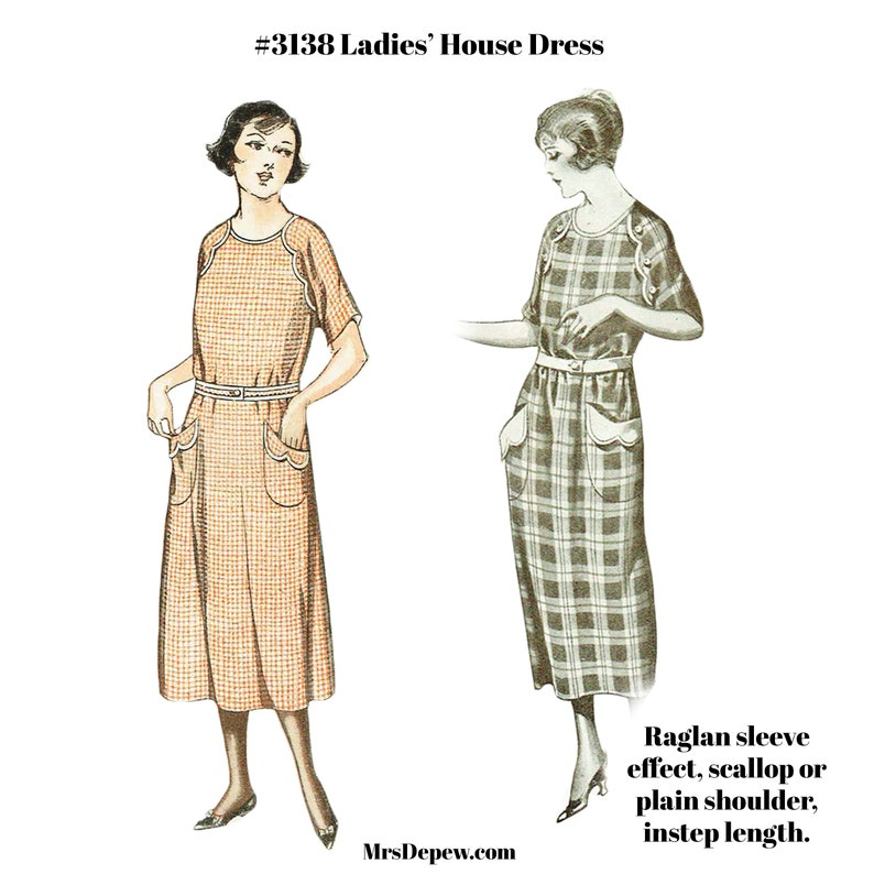 1920s Patterns – Vintage, Reproduction Sewing Patterns 1910s-1920s Ladies House Dress Size 38