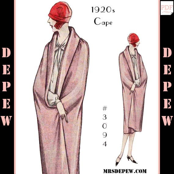 1920s Patterns – Vintage, Reproduction Sewing Patterns  1920s Day & Evening Cape $7.50 AT vintagedancer.com