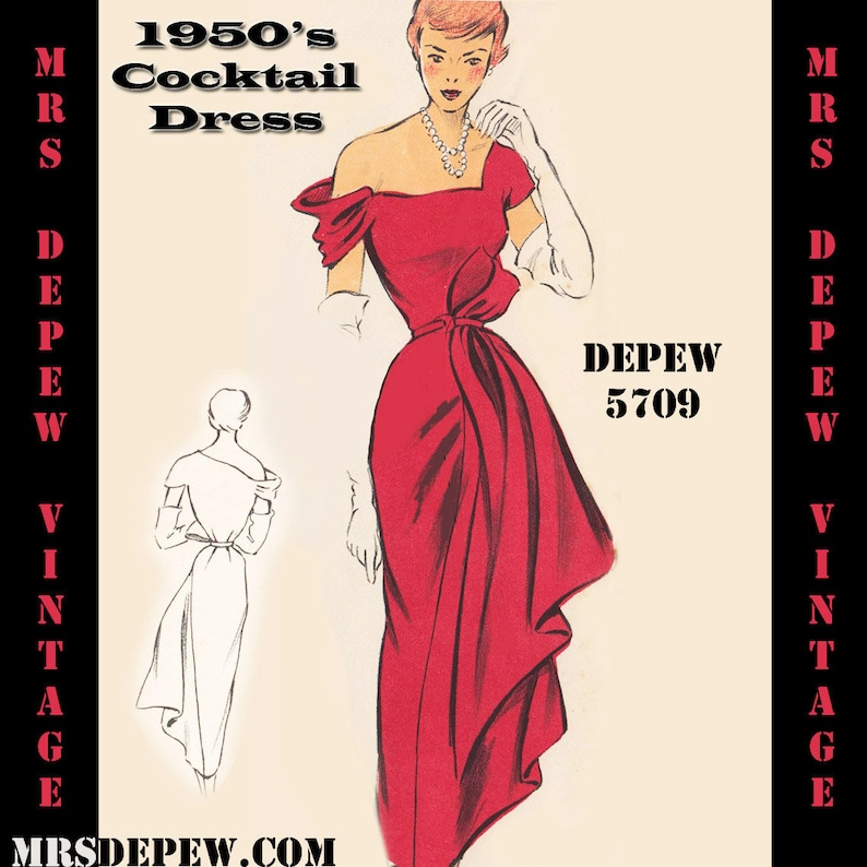 c2674ed5af Vintage Sewing Pattern 1950s Cocktail Dress in Any Size PLUS