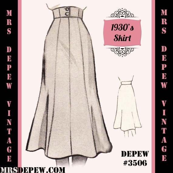 1930s Fashion Colors & Fabric  1930s 1940s A-line Skirt in Any Size Depew 3506 - Plus Size Included -INSTANT DOWNLOAD- $7.50 AT vintagedancer.com