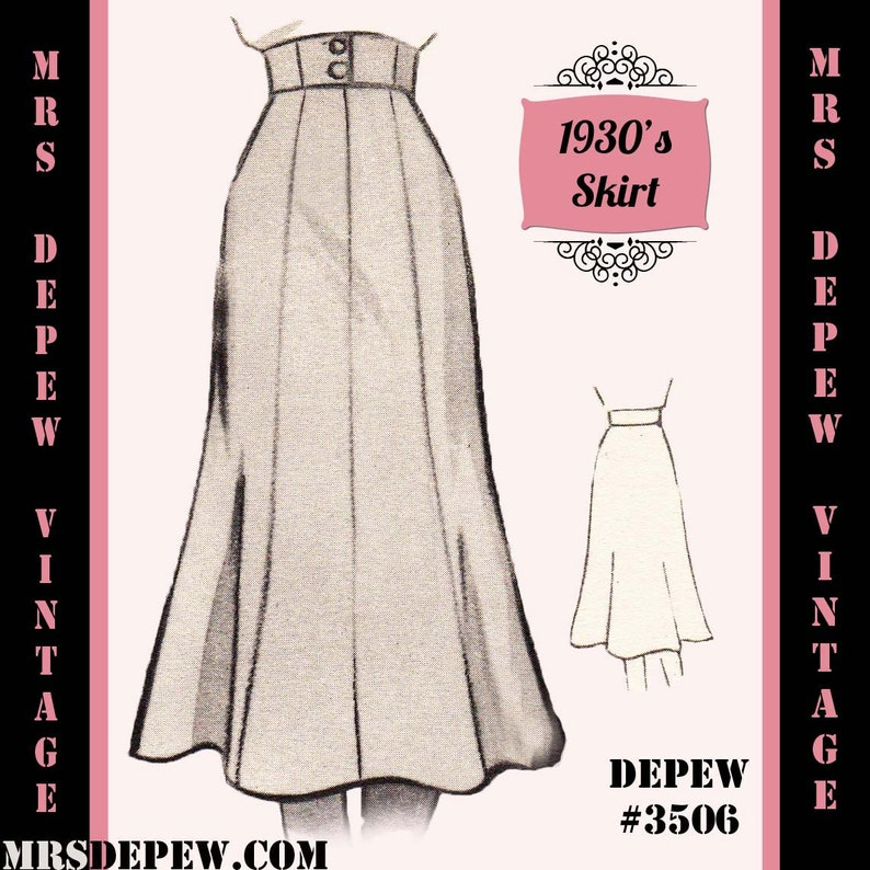 1930s Style Skirts : Midi Skirts, Tea Length, Pleated Vintage Sewing Pattern 1930s 1940s A-line Skirt in Any Size Depew 3506 - Plus Size Included -INSTANT DOWNLOAD- $7.50 AT vintagedancer.com