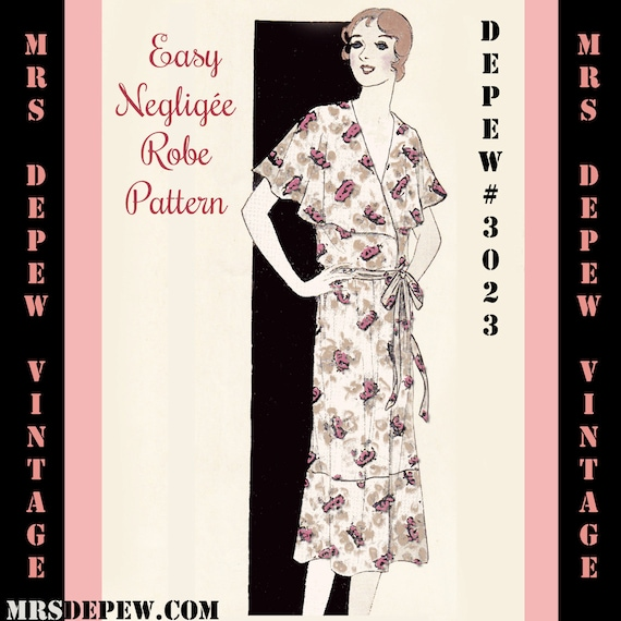 1930s Sewing Patterns- Dresses, Pants, Tops 1930s Easy Dress or Neglige Ebook Depew 3023 -INSTANT DOWNLOAD- $7.50 AT vintagedancer.com