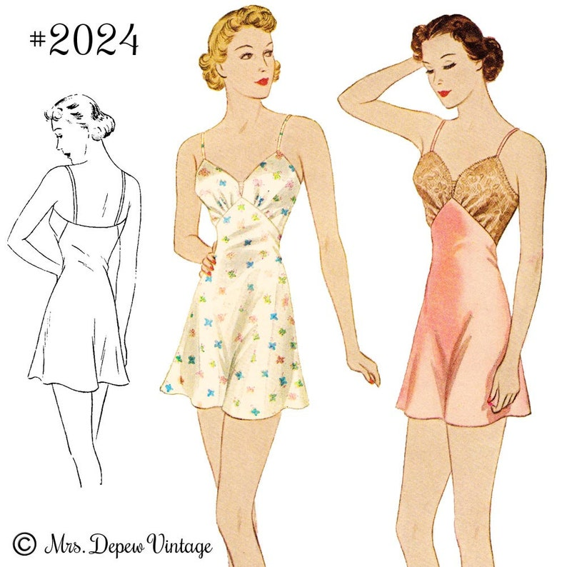 Retro Lingerie, Vintage Lingerie, 1940s-1970s S605 Vintage Sewing Pattern Multi Size Reproduction 1930s Step-in Chemise #2024 - INSTANT DOWNLOAD $9.50 AT vintagedancer.com