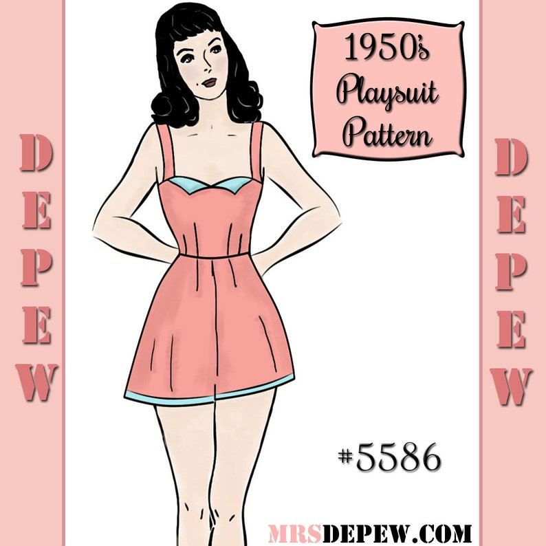 40s-50s Vintage Playsuits, Jumpsuits, Rompers History Vintage Sewing Pattern 1950s Play Suit or Romper in Any Size - PLUS Size Included - Depew 5586 -INSTANT DOWNLOAD- $8.50 AT vintagedancer.com