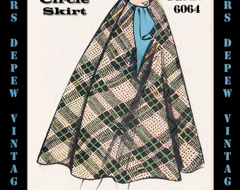 Vintage Sewing Pattern 1950s Skirt in Any Size - PLUS Size Included - Depew 6064 -INSTANT DOWNLOAD-