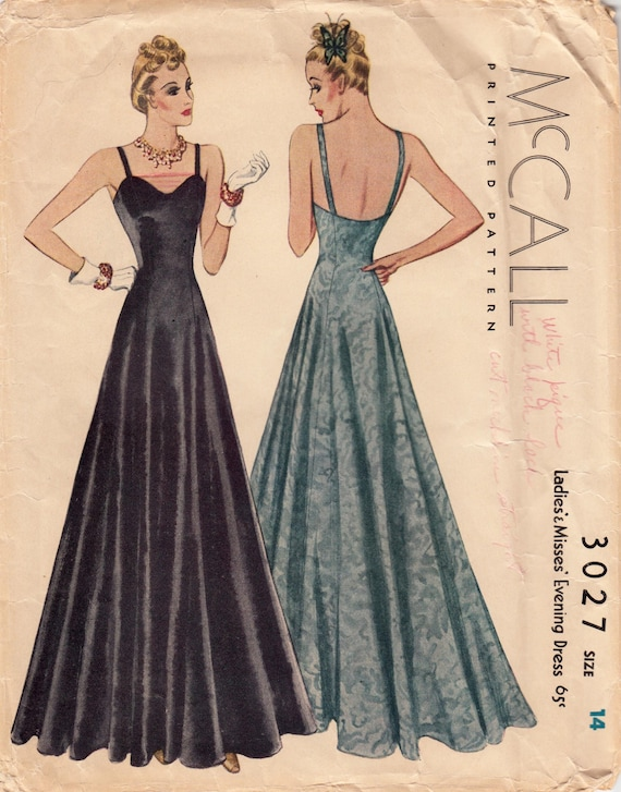 Vintage Sewing Pattern RARE 1930s Evening Gown Dress Pattern | Etsy