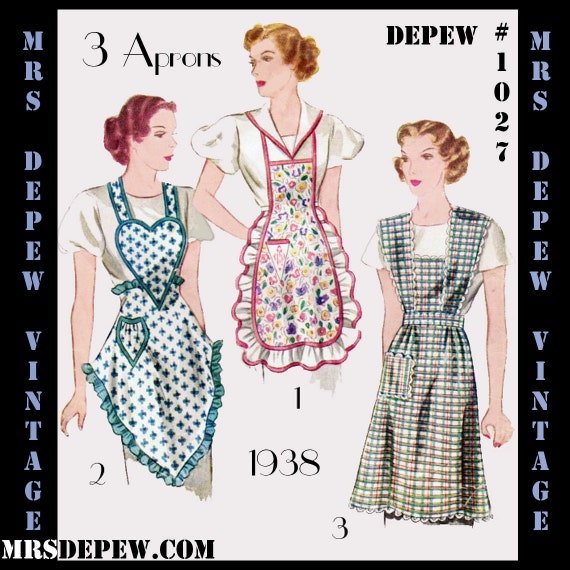 1930s Fashion Colors & Fabric Apron in 3 Styles 1930s Digital Print-At-Home Depew 1027 -INSTANT DOWNLOAD $9.50 AT vintagedancer.com