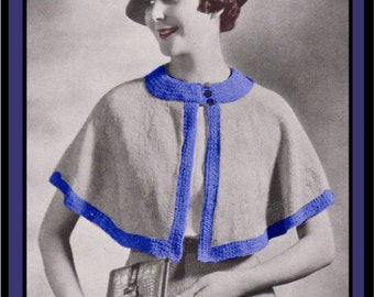 Vintage Knitting Pattern 1930s Cape PDF Digital Copy Size 16 -INSTANT DOWNLOAD-