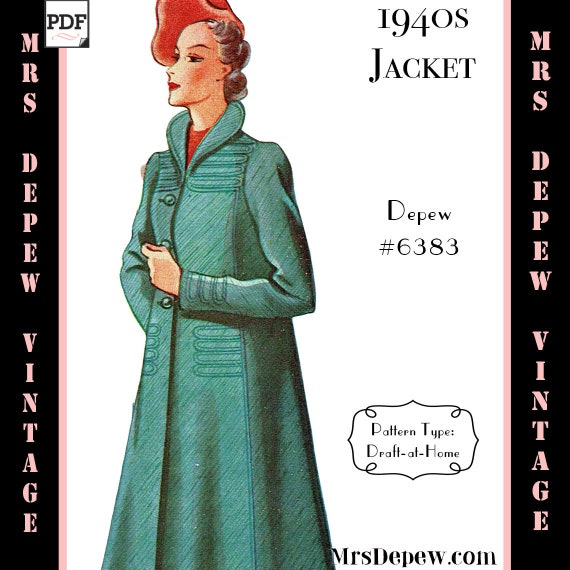 1940s Sewing Patterns – Dresses, Overalls, Lingerie etc  1940s Ladies Box Coat Any Size Depew 6383 $7.50 AT vintagedancer.com