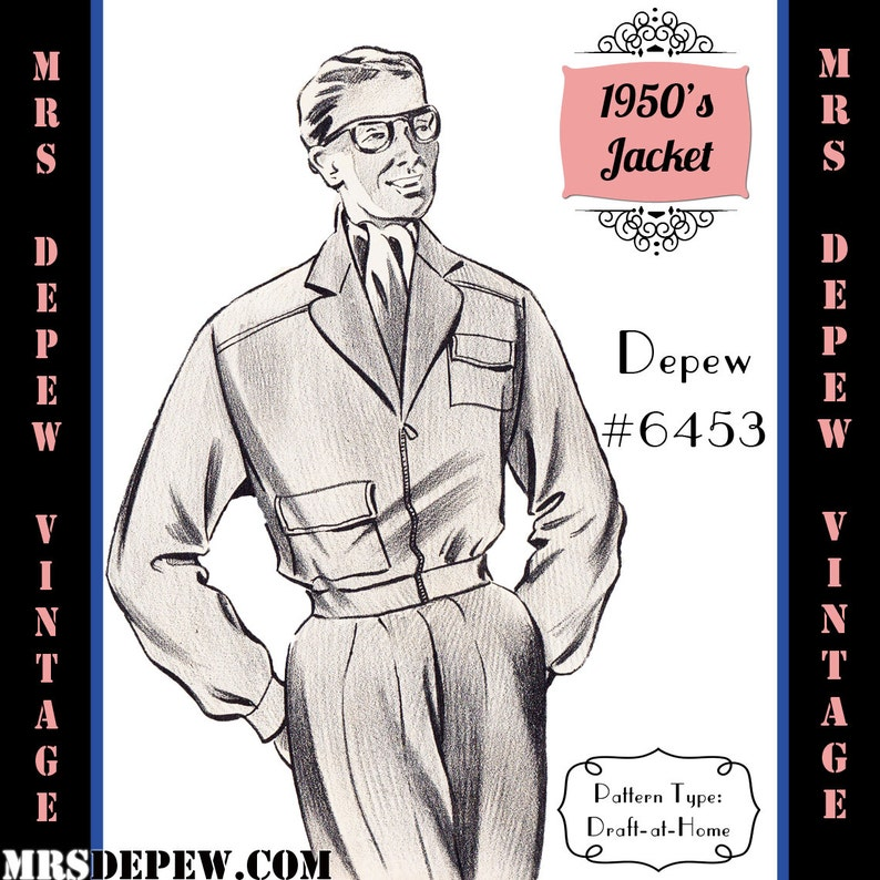 1940s Sewing Patterns – Dresses, Overalls, Lingerie etc Menswear Vintage Sewing Pattern 1950s Mens Jacket in Any Size Depew 6453 - Plus Size Included -INSTANT DOWNLOAD- $7.50 AT vintagedancer.com