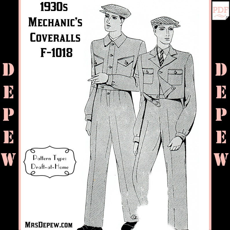 1940s Sewing Patterns – Dresses, Overalls, Lingerie etc Menswear Vintage Sewing Pattern 1930s Mens Mechanic Coverall in Any Size Depew F-1018 - Plus Size -INSTANT DOWNLOAD- $9.50 AT vintagedancer.com