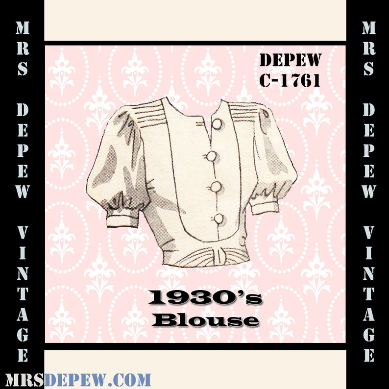 1930s Sewing Patterns- Dresses, Pants, Tops Vintage Sewing Pattern 1930s Blouse in Any Size Depew C-1761 - Plus Size Included -INSTANT DOWNLOAD- $7.50 AT vintagedancer.com