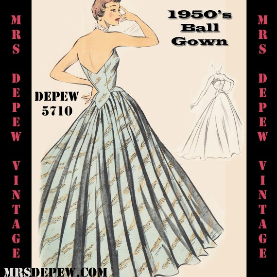 Vintage Sewing Pattern 1950s Evening Ball Gown In Any