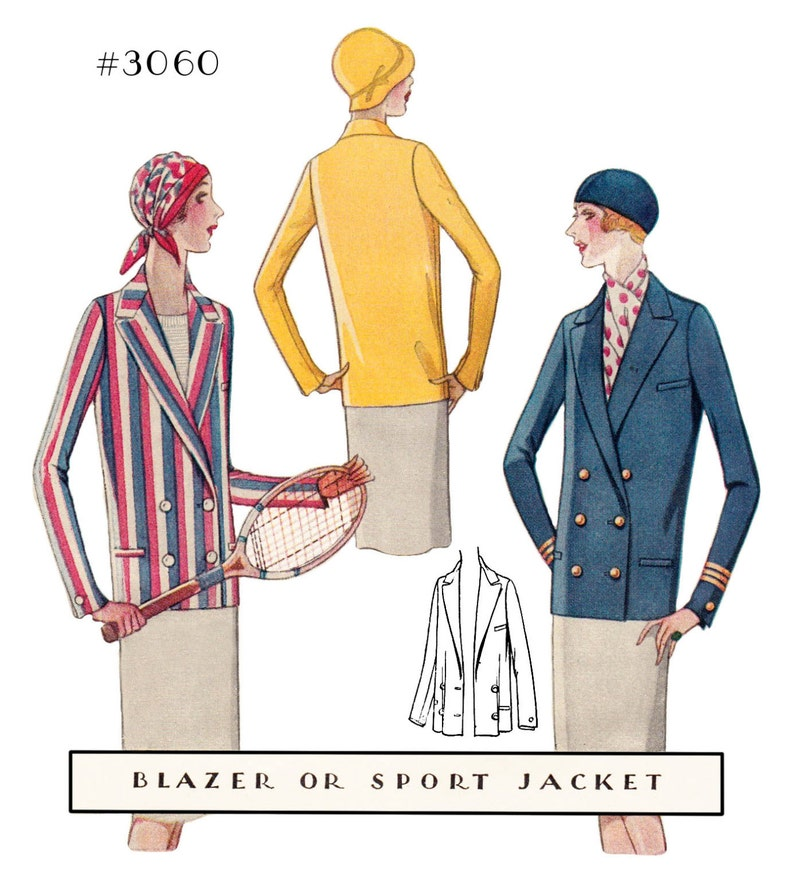 1920s Patterns – Vintage, Reproduction Sewing Patterns Vintage Flapper Sewing Pattern Ladies 1920s Blazer Sport Jacket #3060 - INSTANT DOWNLOAD $8.50 AT vintagedancer.com