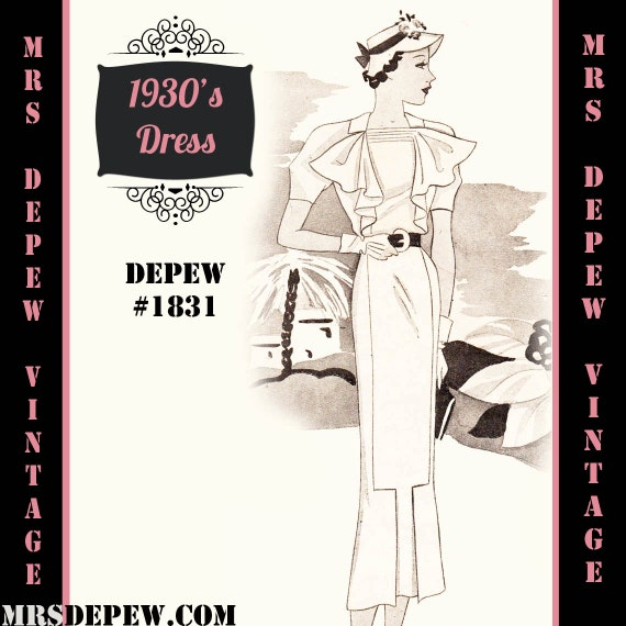 1930s Vintage Dresses, Clothing & Patterns Links 1930s Dress with Jabot Any Size- Plus Size Included- Depew 1831 Draft at Home Pattern -INSTANT DOWNLOAD $8.50 AT vintagedancer.com