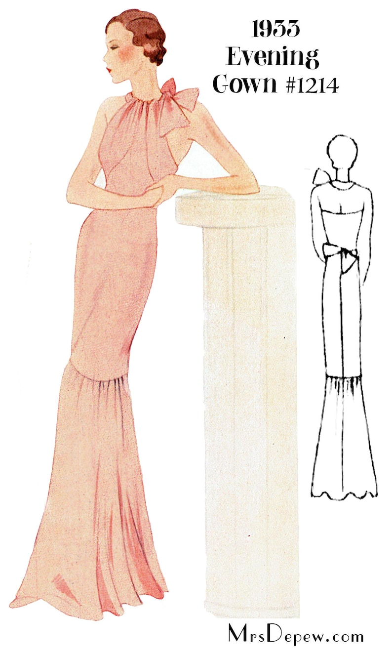 1930s Sewing Patterns- Dresses, Pants, Tops 1930s Evening Gown in Any Size- PLUS Size Included- Depew 1214 -INSTANT DOWNLOAD- $9.50 AT vintagedancer.com