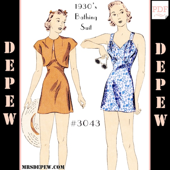 1930s Sewing Patterns- Dresses, Pants, Tops 1930s Ladies Pin Up Bathing Suit Bolero and Kerchief 34