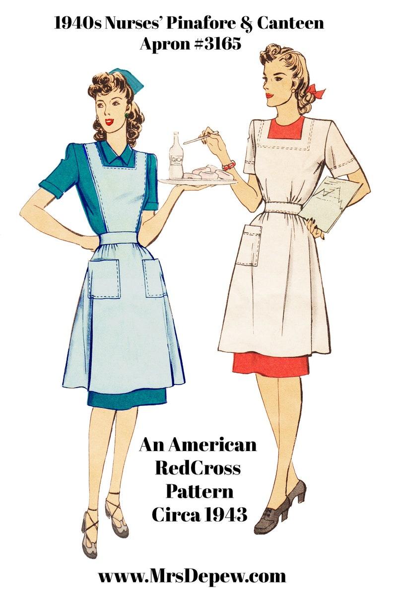 1940s Sewing Patterns – Dresses, Overalls, Lingerie etc 1940s Nurses Uniform Pinafore & Canteen Apron #3165 -INSTANT DOWNLOAD PDF $10.50 AT vintagedancer.com