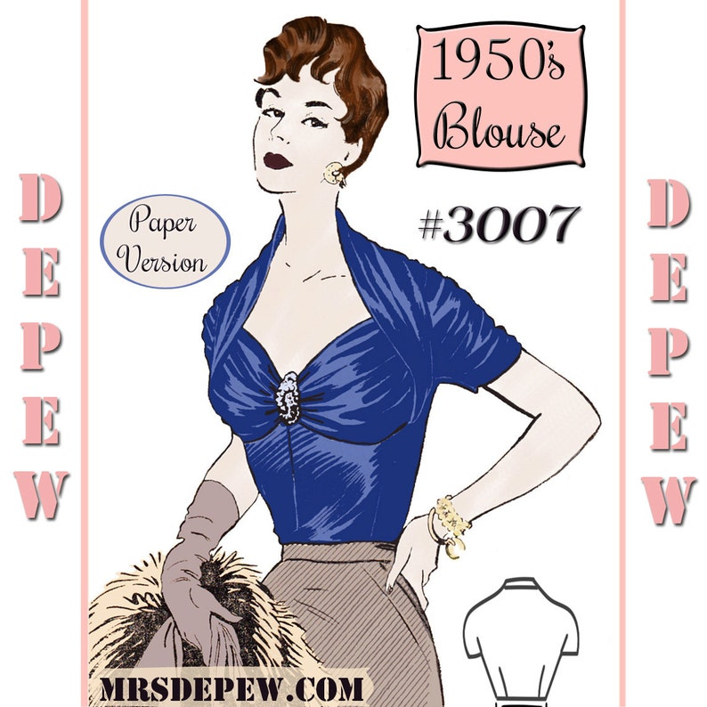 1950s Sewing Patterns | Dresses, Skirts, Tops, Mens 1950s Ladies French Draped Blouse Multi-Size 34-41