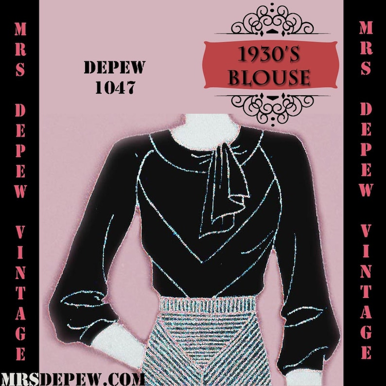 1930s Sewing Patterns- Dresses, Pants, Tops Vintage Sewing Pattern 1930s Blouse in Any Size Depew 1047 Draft at Home Pattern - PLUS Size Included -INSTANT DOWNLOAD- $7.50 AT vintagedancer.com