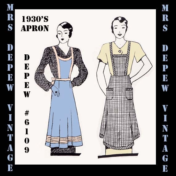 Vintage Aprons, Retro Aprons, Old Fashioned Aprons & Patterns 1930s Ladies House Apron in Any Size- PLUS Size Included- Depew 6109 -INSTANT DOWNLOAD $7.50 AT vintagedancer.com