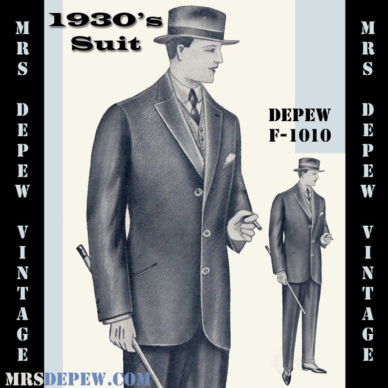 Men's Vintage Reproduction Sewing Patterns     Read the full title    Menswear Vintage Sewing Pattern 1930s Mens Suit Coat and Trousers in Any Size Depew F-1010 - Plus Size Included -INSTANT DOWNLOAD- $9.95 AT vintagedancer.com