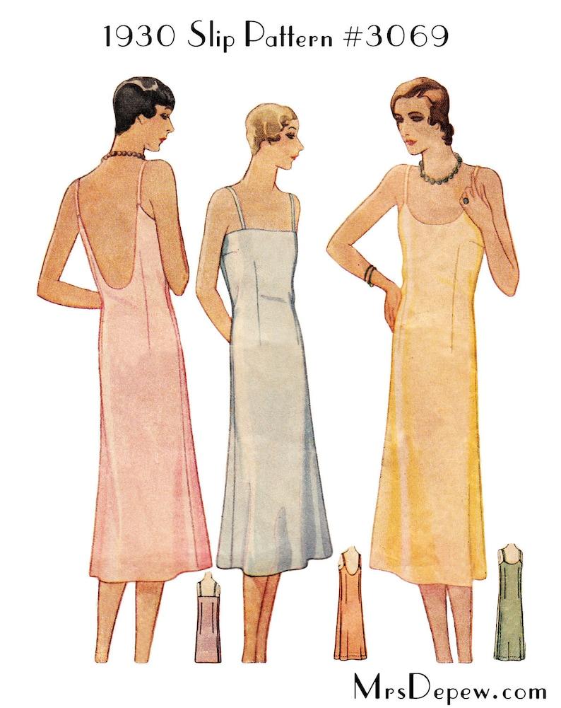 1930s Sewing Patterns- Dresses, Pants, Tops Vintage Sewing Pattern Ladies 1920s - 1930s Style Slip Depew #3069 -INSTANT DOWNLOAD $7.50 AT vintagedancer.com