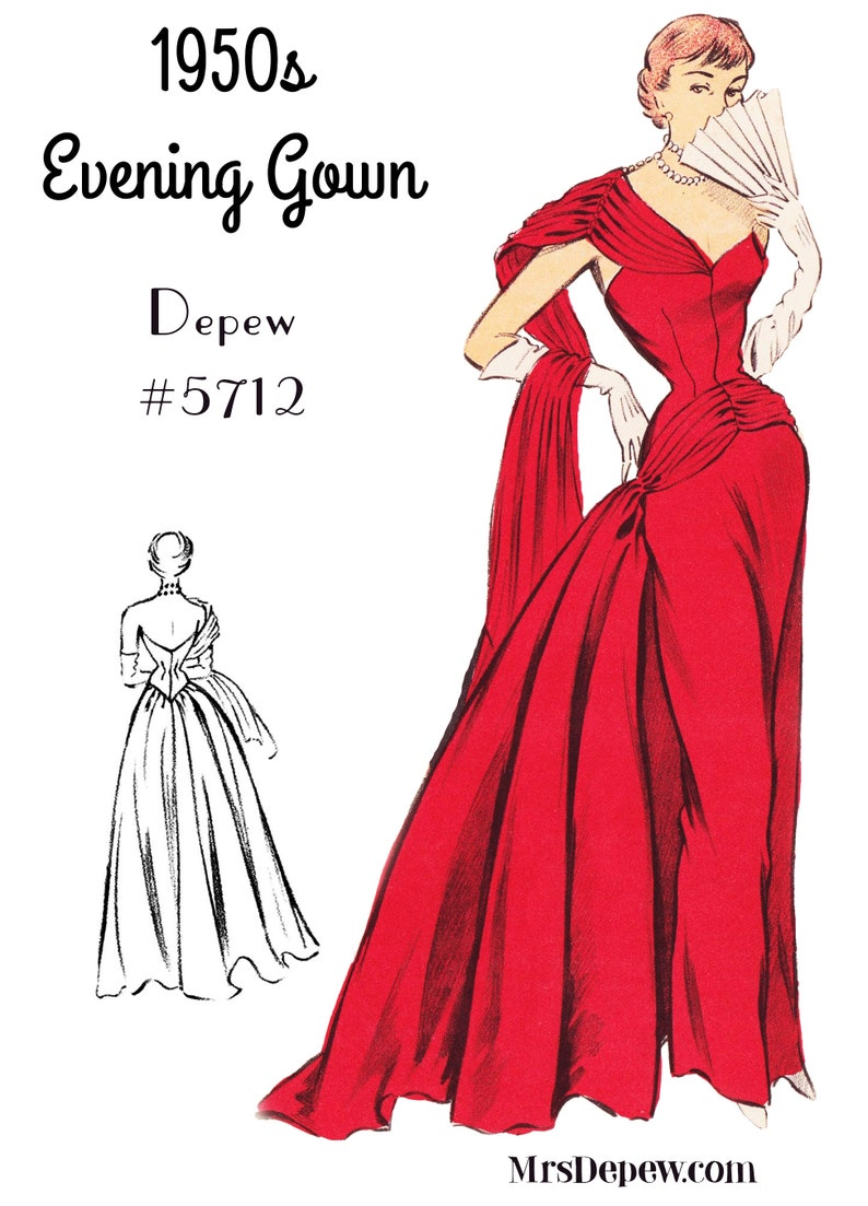 1950s Sewing Patterns | Dresses, Skirts, Tops, Mens Vintage Sewing Pattern 1950s Evening Ball Gown in Any Size - PLUS Size Included - Depew 5712 -INSTANT DOWNLOAD- $9.50 AT vintagedancer.com