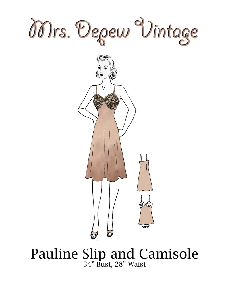 1940s Sewing Patterns – Dresses, Overalls, Lingerie etc 1940s Slip and Camisole Printable PDF 34