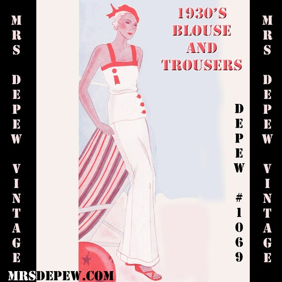 1930s Sewing Patterns- Dresses, Pants, Tops  1930s Blouse and Trousers Beach Pajama in Any Size Depew 1069 - PLUS Size Included -INSTANT DOWNLOAD $9.50 AT vintagedancer.com