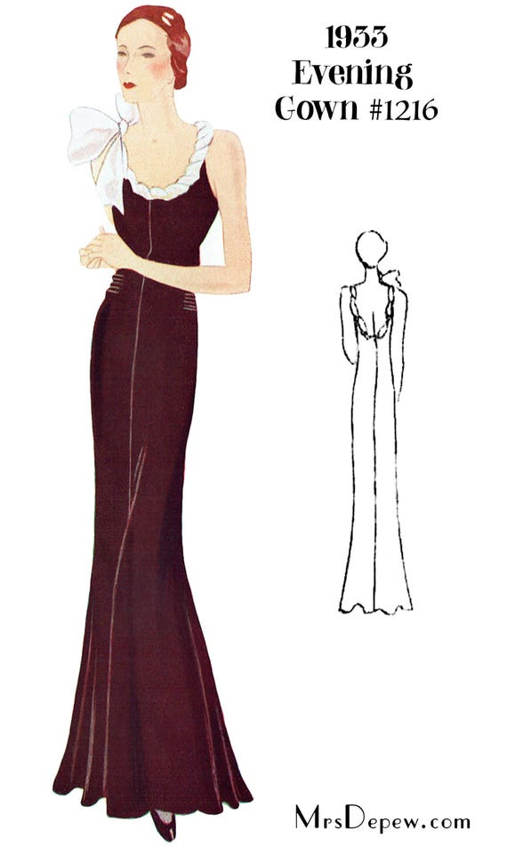 1930s Fashion Colors & Fabric  1930s Evening Gown in Any Size- PLUS Size Included- Depew 1216 -INSTANT DOWNLOAD- $9.50 AT vintagedancer.com