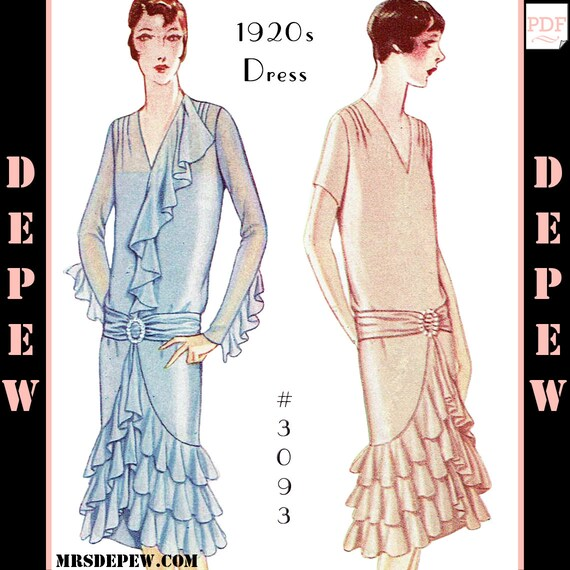 Vintage Sewing Pattern Ladies\' 1920s Dress with Ruffles & | Etsy