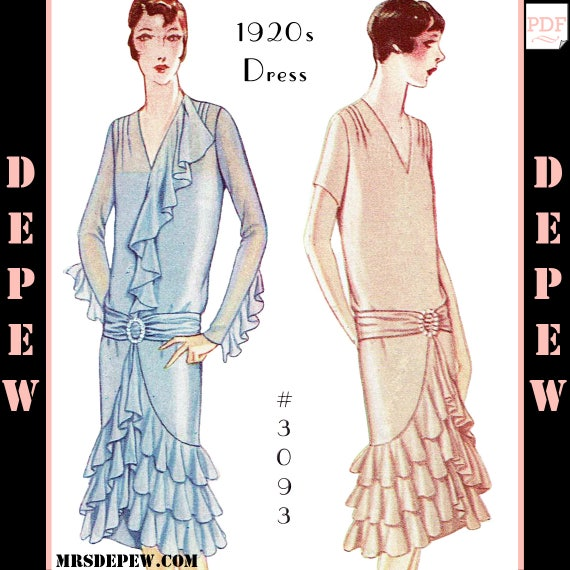 Vintage Sewing Pattern Ladies 1920s Dress With Ruffles Etsy