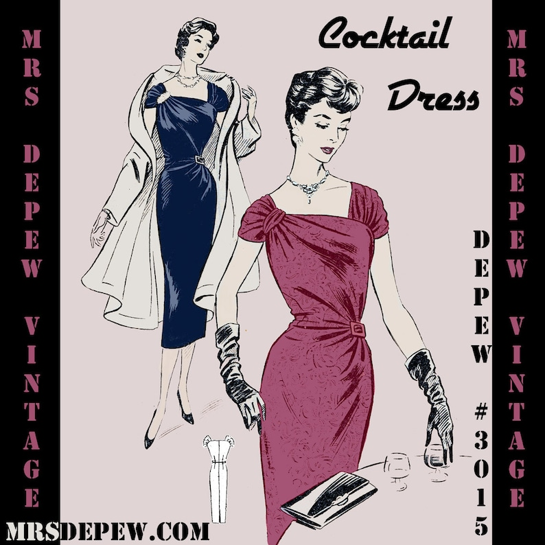 1950s Sewing Patterns | Dresses, Skirts, Tops, Mens 1950s French Cocktail Party Dress Digital Reproduction Depew 3015 -INSTANT DOWNLOAD- $7.50 AT vintagedancer.com