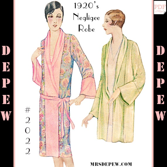 Vintage Sewing Pattern Reproduction 40's Kimono Negligee Etsy Stunning Kimono Robe Sewing Pattern