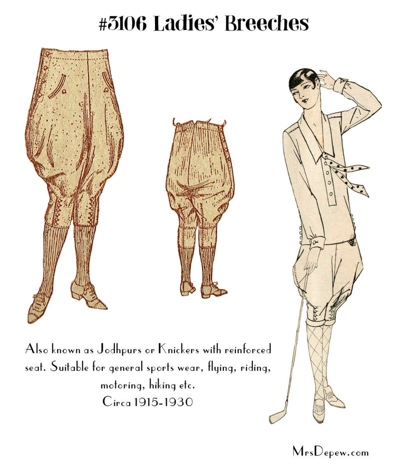 1920s Patterns – Vintage, Reproduction Sewing Patterns Vintage Sewing Pattern 1920s Ladies Jodhpurs or Riding Breeches #3106 - INSTANT DOWNLOAD $8.50 AT vintagedancer.com