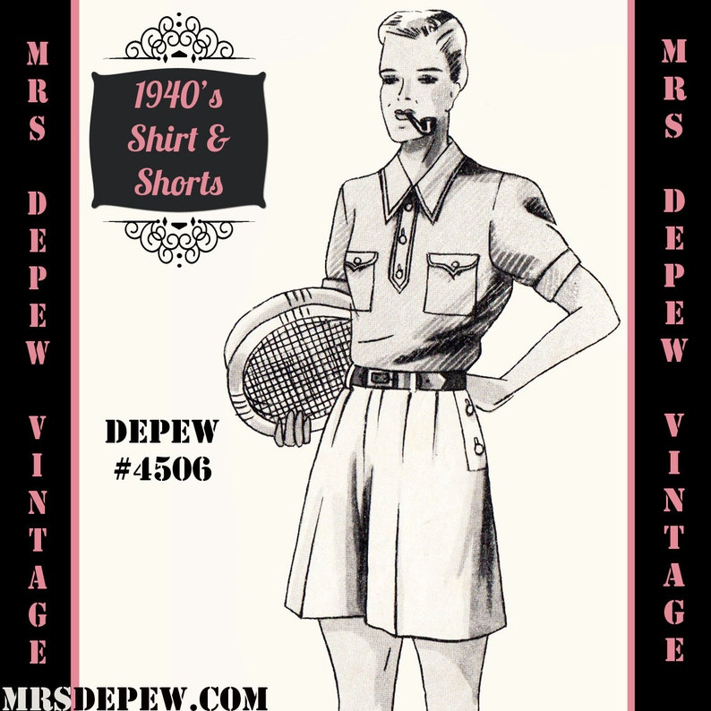1940s Sewing Patterns – Dresses, Overalls, Lingerie etc Menswear Vintage Sewing Pattern 1940s Mens Shirt and Shorts in Any Size Depew 4506 - Plus Size Included -INSTANT DOWNLOAD- $9.50 AT vintagedancer.com